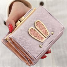 2017 Women Girl Cute Rabbit Ears Hasp Short Wallet PU Soft Coin Pocket Purse Handbag Gift High Quality Free Shipping P364