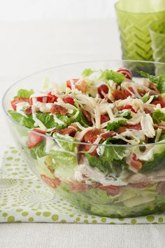 Chicken BLT Salad – We used to think there was nothing better than a creamy chicken BLT on toast—until we tried it without the bread in this glorious layered salad. Serve it up for lunch this summer.
