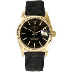 Rolex Datejust Vintage Watch ($7,000) ❤ liked on Polyvore featuring jewelry, watches, black, black face watches, vintage gold jewelry, gold jewelry, rolex watches and 14 karat gold watches
