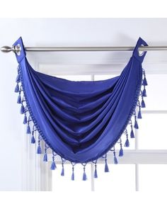 Stylemaster Skyler Grommet Waterfall Valance with Beaded Trim, 35-Inch by 37-Inch, Cobalt