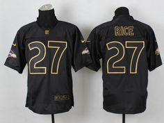 Baltimore Ravens 27 Rice Black 2014 PRO Gold lettering Jerseys