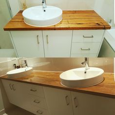 Wormy chestnut timber vanity tops. Great contrast with the white