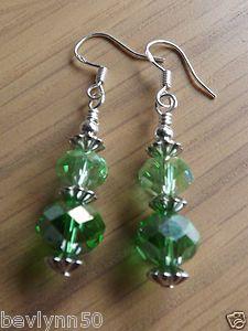 Green Beaded Earrings on 925 Silver Hooks