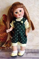 "~Just Dolly~ a 2 PC outfit for Ginny,Muffie, or M.A. dolls all of the 7.5-8"" size. Consists of the little hunter green romper and blouse set.  At my Etsy shop now and also on my website. Click the pix to take you to this cute outfit. SOLD!"