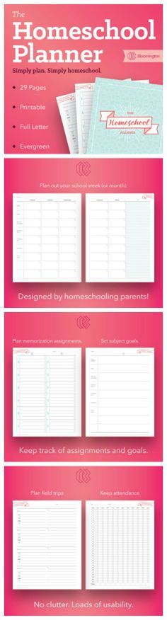 PDF Printable Homeschool Planner to help keep things on track and organized for your homeschool classroom #printables #planneraddict #ad #etsy #education #school