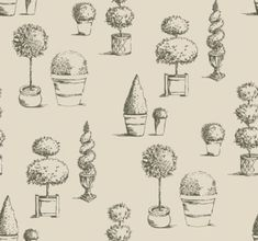 Topiary (W0032/01) - Clarke & Clarke Wallpapers - An elegant topiary tree motif design, with delicately drawn trees in pots - perfect for the English garden look. Shown here in charcoal grey. Wide width. Please request sample for true colour match.