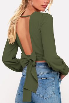 0d841300dd5bfb Women Army-green Backless Wrap Tied Long Sleeve Casual Chiffon Blouse - S