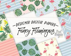 Digital Scrapbook Paper, Digital Papers, Birds Of Paradise Flower, Flamingo Pattern, Tropical Leaves, Pattern Paper, Flower Patterns, Bright Colors, Penguin