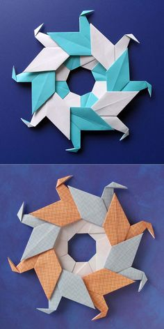 Origami, diagrams: Ghirlanda di anatre - Garland of ducks © by Francesco Guarnieri Origami Yoda, Origami Star Box, Origami Dragon, Origami Fish, Origami Birds, Origami Instructions Step By Step, Origami Tutorial, Origami Wreath, Origami Paper