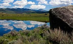 Boulders deposited long ago by glaciers dot the Lamar Valley in Yellowstone National Park