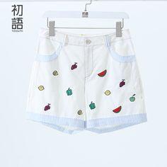 Toyouth 2016 новое поступление весна лето шорты женские прямые брюки фрукты вышитые опрятный стиль 100% хлопок XXL свободного покроя шортыкупить в магазине ToyouthнаAliExpress