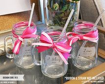 Personalized Mason Jar Tumbler - (ONE) Custom Engraved Glass Mason Jar with Handle - Bridesmaid Proposal Gift - Bachelorette Party Favor