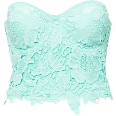Club L Crochet Detail Bustier ($46) ❤ liked on Polyvore featuring tops, shirts, crop tops, blusas, mint, womens-fashion, green lace shirt, mint green crop top, mint crop top and green lace top