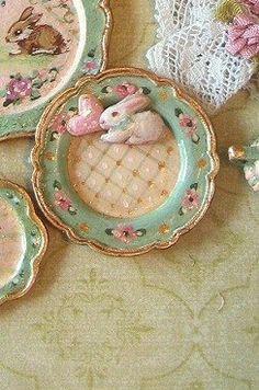 2 Mini Hand Painted Heart Water Jug Dollhouse Miniatures Ceramic Kitchenware