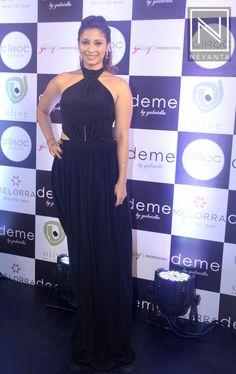 #TanishaaMukerji in a halter-style #maxi dress from #Deme by #Gabriella