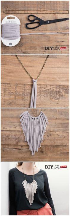 Realizza una collana #faidate usando catenina e #fettuccia e ispirandoti al must…