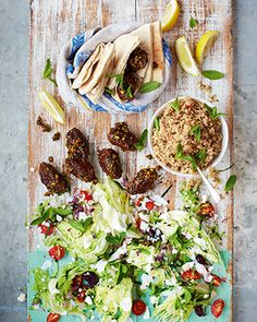 lamb kofte, pitta & greek salad - nice idea to sprinkle the kofte with bashed pistachios, thyme and honey as they finish cooking.