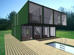 CHK CONTAINER HOME KIT  CHK, Container Home Kit, combines multiple shipping containers to build modern, intelligent and affordable homes. 40-foot-long (13.00m) shipping containers are joined and stacked to create configurations that vary in size approximately from 1,000 to 3,000 square feet (90m2 to 270m2)