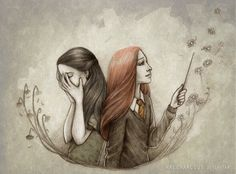 Petunia and Lily Evans from J. Rowling's Harry Potter To change a little, I'd made this drawing based on my favorite book; Saga Harry Potter, Rowling Harry Potter, Lily Potter, Harry Potter Facts, Harry Potter Books, James Potter, Harry Potter Universal, Harry Potter World, Lord Voldemort