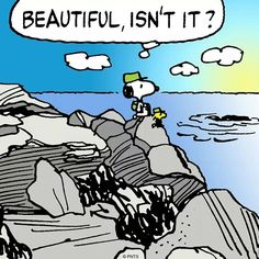 Snoopy and Woodstock as Hikers Standing on Rocky Shoreline Looking Out Over the Ocean With Caption - Beautiful, Isn't It? Snoopy Cartoon, Peanuts Cartoon, Peanuts Snoopy, Peanuts Comics, Snoopy Love, Snoopy And Woodstock, Peanuts Characters, Cartoon Characters, Snoopy Beagle