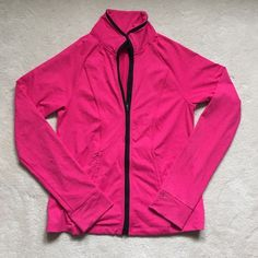 VSX Pink Zip up Victoria's Secret work out zip up. Pink with black trim. Great condition other than a small hole on one sleeve. Victoria's Secret Jackets & Coats