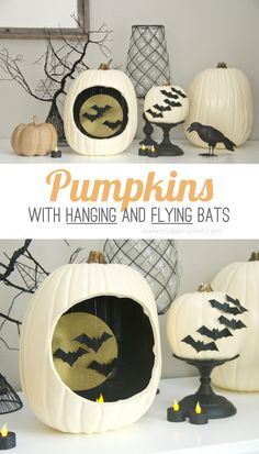 DIY Pumpkins with Hanging and Flying Bats...great autumn decor! | via MichaelsMaker Make It and Love It