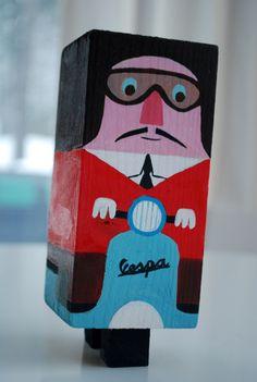 Vespa Driver Wood Block Figure, Ingela Arrhenius