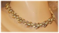 Vintage Designer BSK Aurora Borealis (AB) Rhinestone & Gold 1960's Necklace  by MarlosMarvelousFinds, $36.00