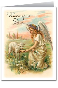 Religious Easter Greetings | Antique Vintage Religious Easter Greeting Card