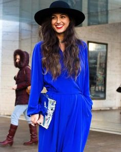 Get inspired with these street style shots! We've spotted a lot of great street style looks with eye-catching royal blue pieces lately and can't help but be inspired to try the color.  Scroll through to see the street style shots that have us craving royal blue... via @WhoWhatWear