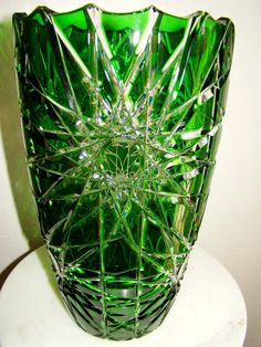emerald green glassware and vases | Bohemian Czech Emerald Green Cut to Clear Cased Lead Crystal Vase