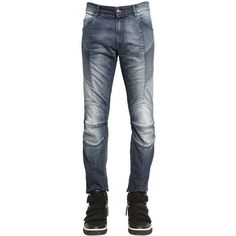 Pierre Balmain Men 16.5cm Biker Bleached Stretch Jeans ($320) ❤ liked on Polyvore featuring men's fashion, men's clothing, men's jeans, blue, mens stretchy jeans, mens blue jeans, mens button fly jeans, mens biker jeans and mens super skinny stretch jeans #mensjeansskinny