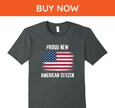 Mens Proud New American Citizen flag Tshirt Large Dark Heather - Cities countries flags shirts (*Amazon Partner-Link)