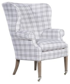 Wing back chair for breakfast room/library in large grey check