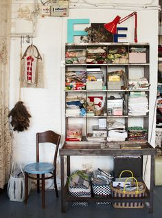 Big cubbies, these would be so cool in my studio!. - Home of Emily Chalmers, photo by Hilary Walker