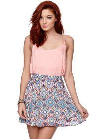 Diamond Print Skater Skirt