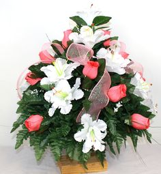XL Spring Mixture Artificial Silk Flower Cemetery Bouquet Vase Arrangement by Crazyboutdeco on Etsy Vase Arrangements, Silk Flower Arrangements, Cemetery Vases, Coral Roses, Red And White Roses, Artificial Silk Flowers, Star Flower, Poinsettia, Holiday