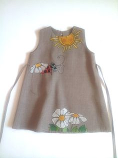 """Painted dress - gray color linen - unit work - size by height 36""""/92 cm for 2-3 years - children"""