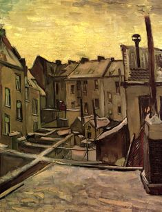 Vincent van Gogh(Dutch, 1853-1890), Backyards of Old Houses in Antwerp in the Snow, 1885, Oil on canvas, Van Gogh Museum, Amsterdam.