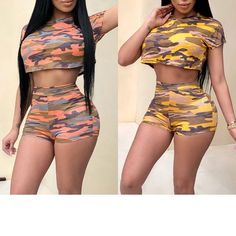 Summer Woman Set 2 Piece Sets Women Crop Top Shorts Pant Female Outfit Camo Camouflage Print Two Pieces Sets Rompers Women, Jumpsuits For Women, Crop Top And Shorts, Crop Tops, Camo Suit, Outfits For Teens, Cute Outfits, Body Suits, Suit Fashion