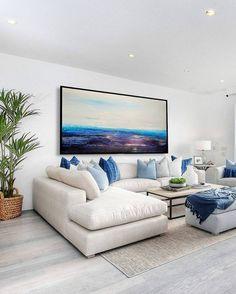 Blue And White Living Room, Blue Living Room Decor, Bohemian Living Rooms, Home Living Room, Living Room Designs, Bohemian Decor, Coastal Living Rooms, Hamptons Living Room, Coastal Bedrooms
