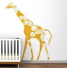 How fun is this giraffe wall decal? #nursery #walldecor