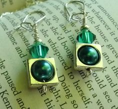 Blue Green Emerald wire wrapped handmade leverback earrings by PrairiePinePeddler on Etsy