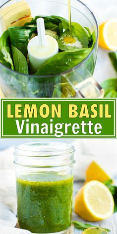 Lemon Basil Vinaigrette is a quick easy and healthy homemade salad dressing recipe that is made with lemon juice and zest fresh basil garlic powder and olive oil. This is the BEST vegan gluten-free vegetarian Paleo and low-carb lemon salad dressing for th Lemon Vinaigrette Dressing, Salad Dressing Recipes, Homemade Healthy Salad Dressing, Pesto Dressing Salad, Low Calorie Dressing Recipe, Salad Dressing Homemade, Gluten Free Salad Dressing, Vinaigrette Recipe, Lemon Salad Dressings