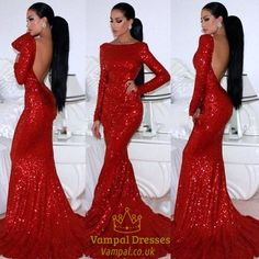 vampal.co.uk Offers High Quality Red Long Sleeve Backless Floor Length Sheath…