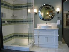 bathrooms - white bathroom vanity sink white vessel sink mirror gray walls green blue ceramic tiles  Kirsty Froelich - White ceramic tile with