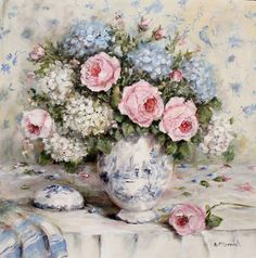 Still Life Florals with favourite Blue and Whites