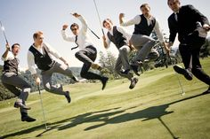 Groomsmen :: fun shot of the groom and groomsmen - golf course wedding venue