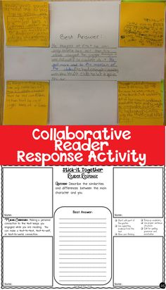 Stick-It Together Collaborative Reader Response Activity - the perfect group work activity to get your students talking and working together to build a strong constructed response for all reading genres. $