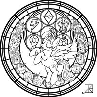 Link To This Deviation Or At Least My Main Page Commish Princess Twilight StainedGlass Line Art